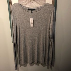 New! White House Black Market Grey Ling Sleeve Top
